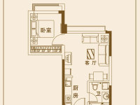 H1户型 1室2厅1卫