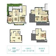 3室2厅3卫 面积:155㎡ 3室2厅3卫 面积:155㎡