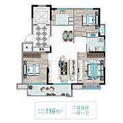 3室2厅1卫 面积:116㎡ 3室2厅1卫 面积:116㎡