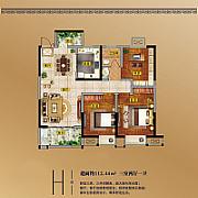 3室2廳1衛 面積:112.44㎡ 3室2廳1衛 面積:112.44㎡