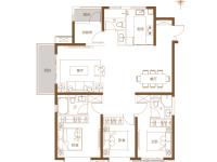 E1, 4室2厅3卫1厨, 建筑面积约1