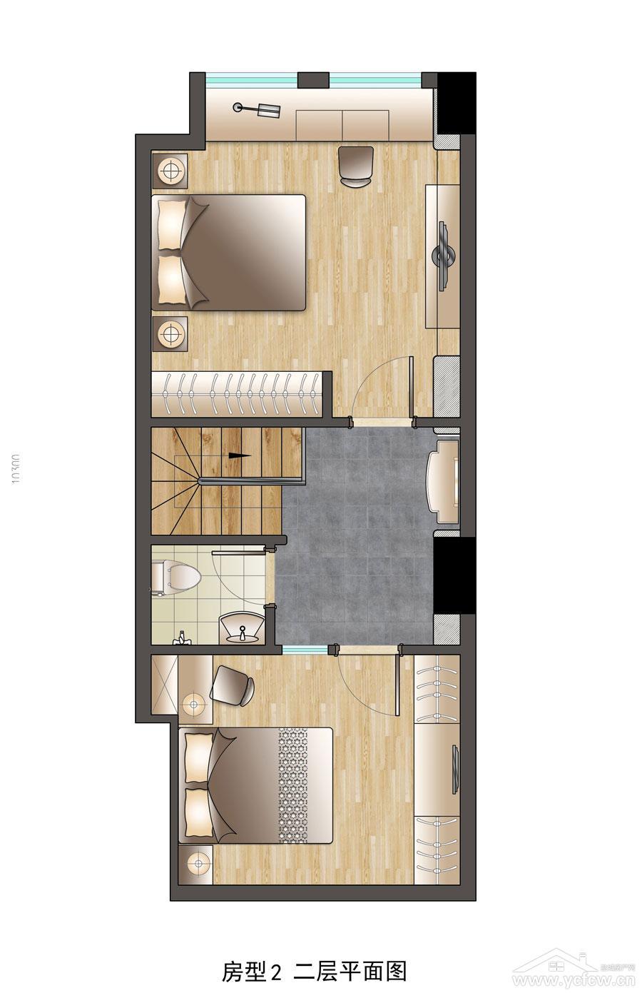 房型2二层平面图